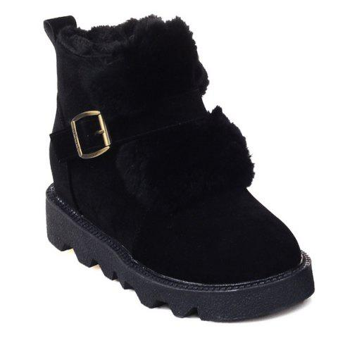 Buckle Strap Faux Fur Snow Boots - Black - 38