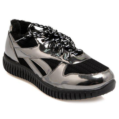 New Splicing Patent Leather Tie Up Athletic Shoes
