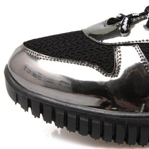 Affordable Splicing Patent Leather Tie Up Athletic Shoes - 37 BLACK Mobile
