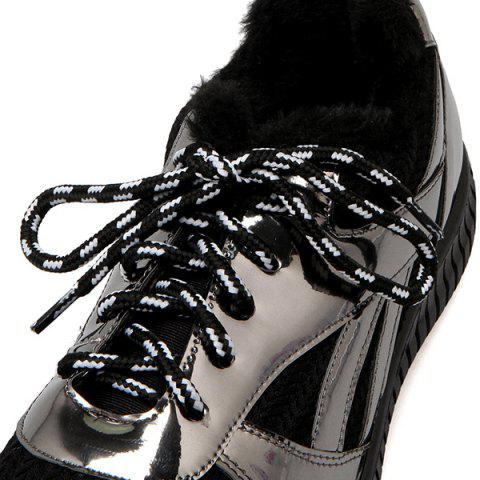 Store Splicing Patent Leather Tie Up Athletic Shoes - 37 BLACK Mobile