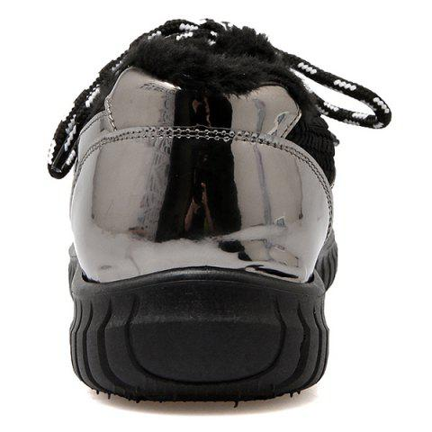 Chic Splicing Patent Leather Tie Up Athletic Shoes - 37 BLACK Mobile