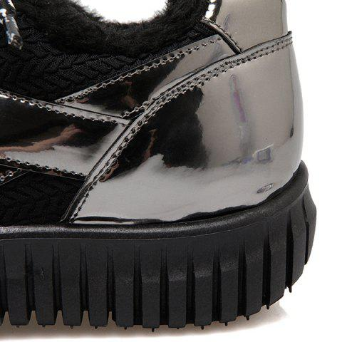 Fancy Splicing Patent Leather Tie Up Athletic Shoes - 37 BLACK Mobile