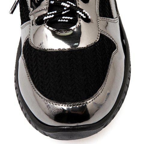 Discount Splicing Patent Leather Tie Up Athletic Shoes - 37 BLACK Mobile