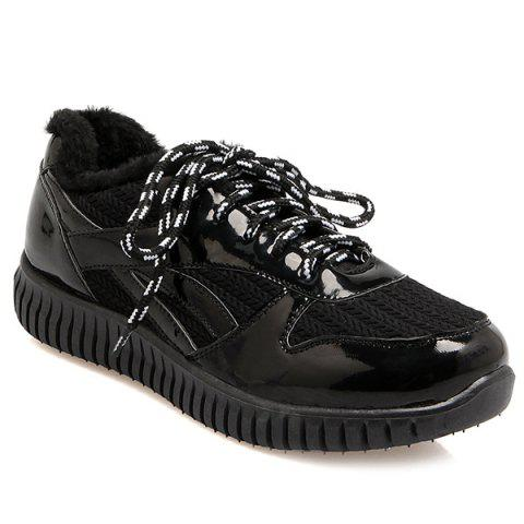 Hot Splicing Patent Leather Tie Up Athletic Shoes - 37 BLACK Mobile