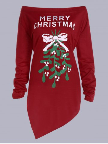 Outfits Merry Christmas Print Asymmetrical T-Shirt RED L