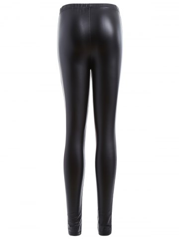 Sale Ripped PU Leather Leggings - XL BLACK Mobile