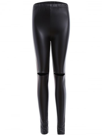 Shops Ripped PU Leather Leggings BLACK XL