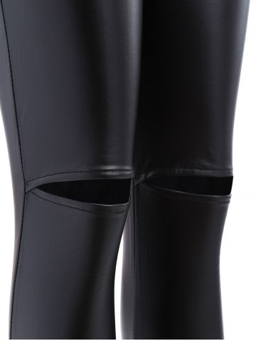 Latest Ripped PU Leather Leggings - XL BLACK Mobile