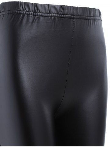 Online Ripped PU Leather Leggings - XL BLACK Mobile