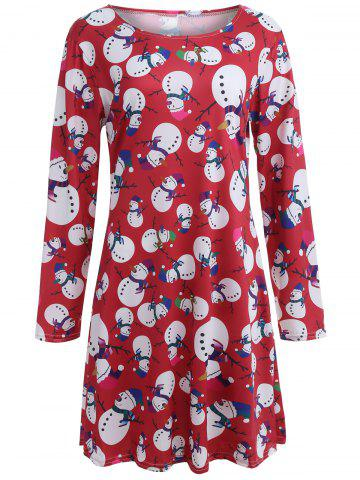 Snowman Patterned Christmas A Line Skater Dress - Red - S