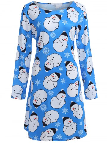 Shop Snowman Graphic Long Sleeve Christmas Dress AZURE XL