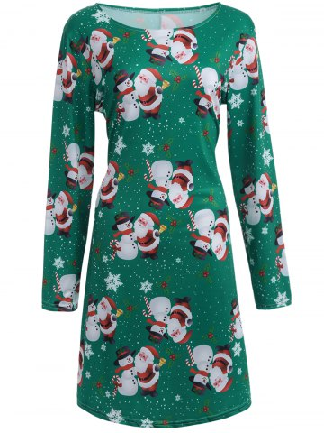 Sale Santa Snowman Print Long Sleeve Christmas Dress GREEN XL