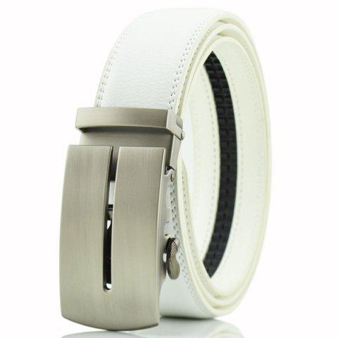 Hot Letter U Automatic Buckle PU Belt - WHITE  Mobile