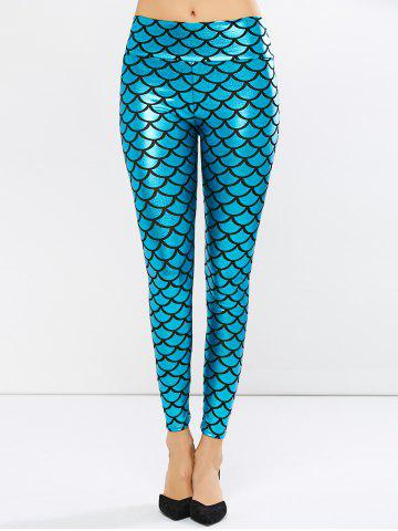 Fashion Fish Scale Faux Leather Mermaid Leggings PEACOCK BLUE ONE SIZE