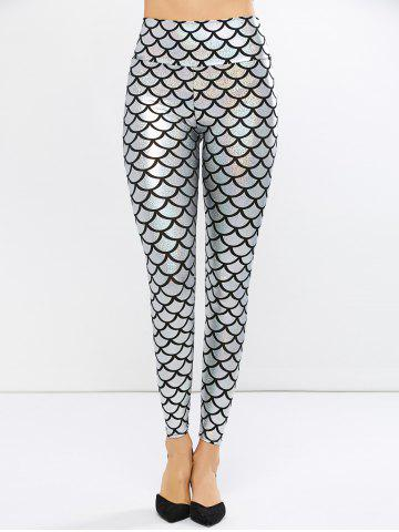 Fish Scale Faux Leather Mermaid Leggings - Silver - One Size