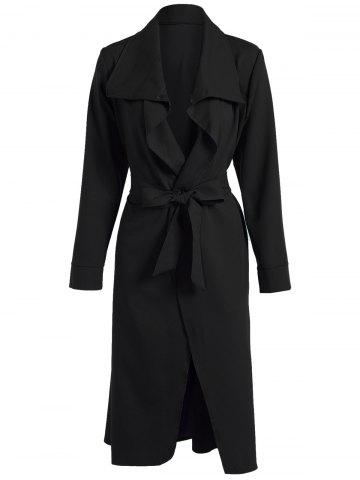 Affordable Bowknot Lapel Wrap Coat and Belt BLACK L