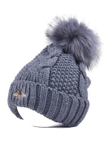 Winter Pom Ball Flanging Bee Knitted Beanie - GRAY