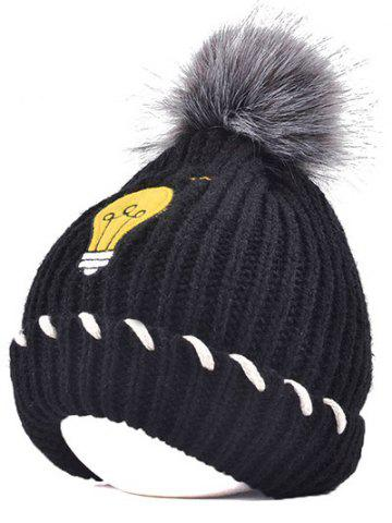 Winter Pom Ball Flanging Knitted Hat - Black - One Size