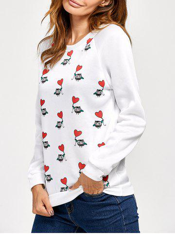 Fashion Raglan Sleeve Owl Heart Print Sweatshirt