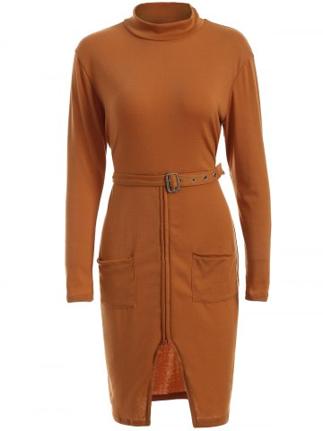 Discount High Neck Long Sleeve Belted Slit Sheath Dress ORANGE XL