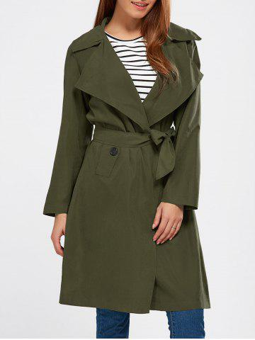 Lapel Wrap Back Slit Long Trench Coat - Army Green - M
