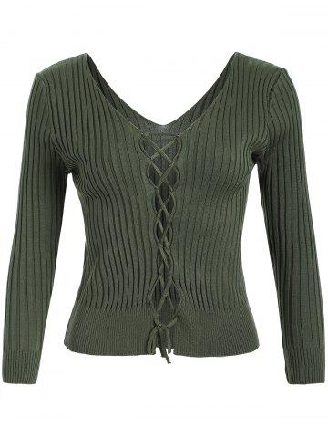 V Neck Lace Up Ribbed Jumper - Green - One Size
