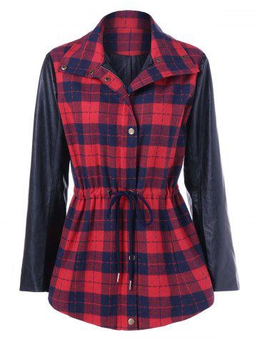 Best PU Leather Trim Plaid Coat