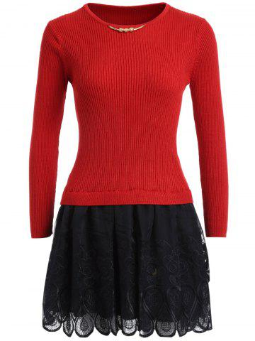 Hot Mesh Spliced Slim Fit Knitted Dress