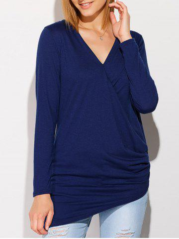 Chic V Neck Long Sleeve Draped T-Shirt DEEP BLUE XL