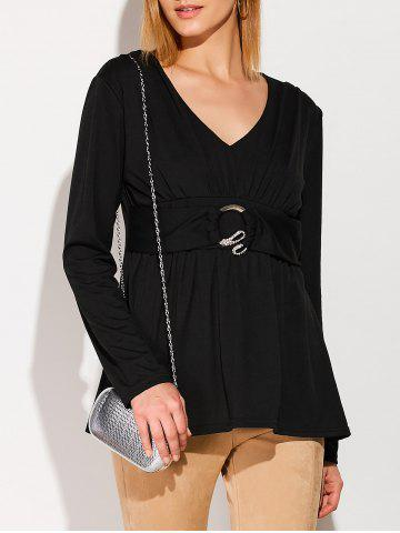 Rhinestone Buckle Ruched Tunic T-Shirt - Black - S