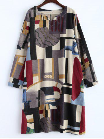 Geometry Patchwork Print Casual Dress - Off-white - M
