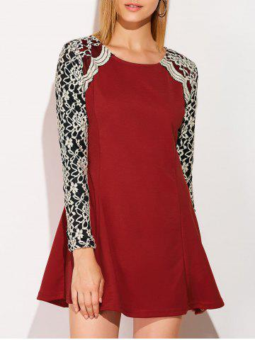 Long Sleeve Lace Insert Mini Skater Dress - Wine Red - M
