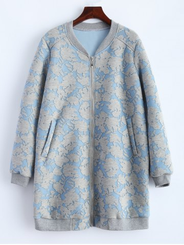 Outfits Flower Pattern Pockets Long Bomber Jacket CLOUDY 2XL