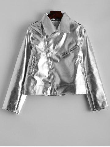 Shop Faux Leather Metallic Short Jacket