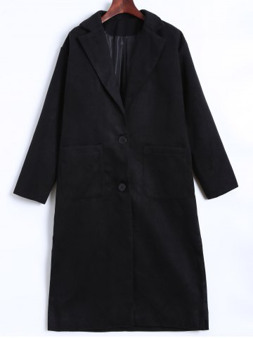Shops Lapel Two Button Pocket Design Long Coat BLACK 3XL