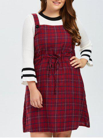 Buy Plus Size Plaid Pinafore Dress