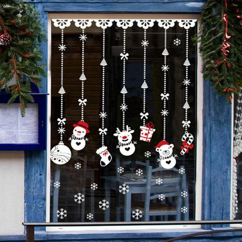Affordable Removable DIY Snowman Pendants Christmas Wall Stickers - WHITE  Mobile