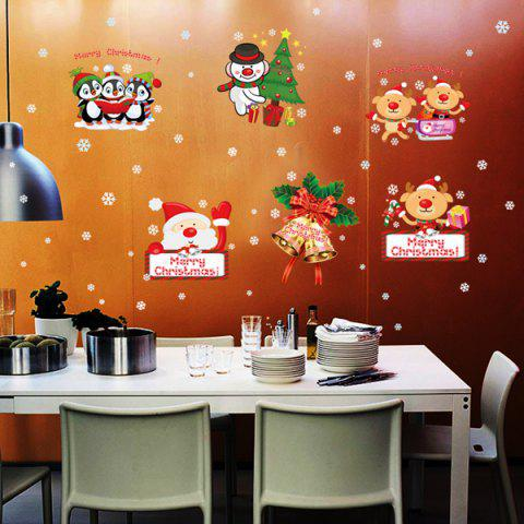 Hot Xmas Santa Elk Removable Christmas Window Wall Stickers COLORFUL