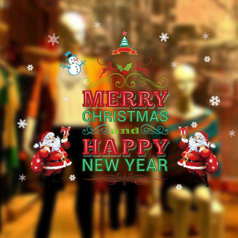 Store Happy New Year Letter Christmas DIY Removable Wall Stickers - RED AND GREEN  Mobile