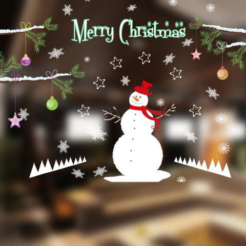 Store Removable DIY Snowman Pattern Christmas Wall Stickers WHITE