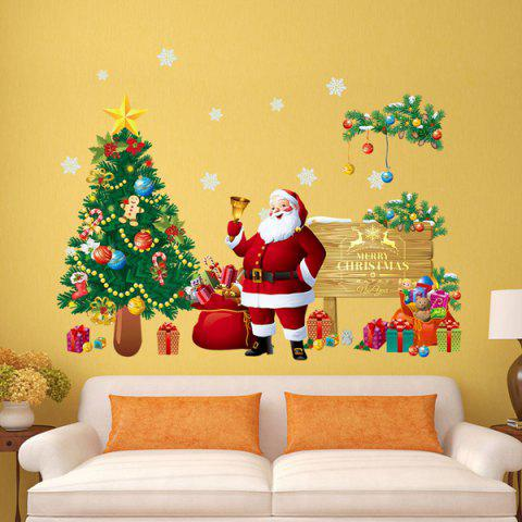 Store Christmas Santa Tree Removable Living Room Wall Stickers COLORFUL