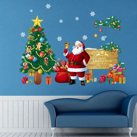 Unique Christmas Santa Tree Removable Living Room Wall Stickers - COLORFUL  Mobile