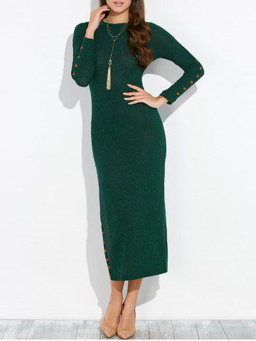 New Buttoned Ribbed Side Slit Dress