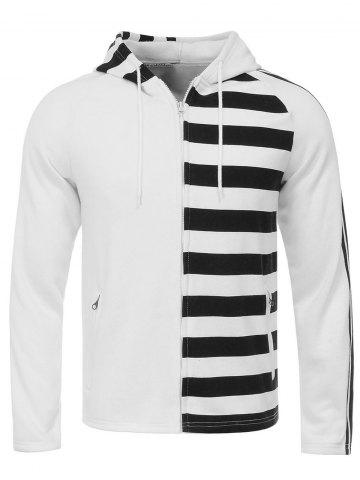 New Hooded Unilateral Stripe Design Flocking Zip Up Hoodie WHITE XL