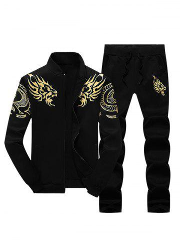 Sale Stand Collar Dragon Print Zip Up Jacket and Pants Twinset