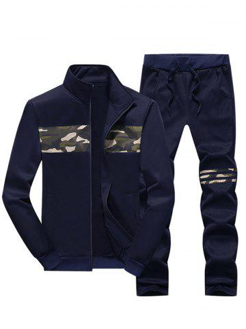 Unique Stand Collar Camouflage Insert Zip Up Jacket and Pants Twinset DEEP BLUE 4XL