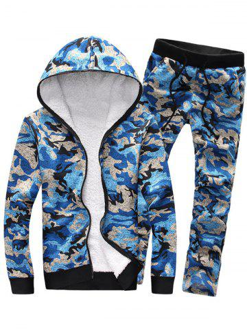 New Camouflage Zip Up Flocking Hoodie and Pants Twinset BLUE 3XL