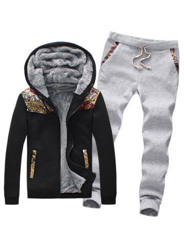 Outfits Plus Size Insert Zip Up Flocking Hoodie and Pants Twinset