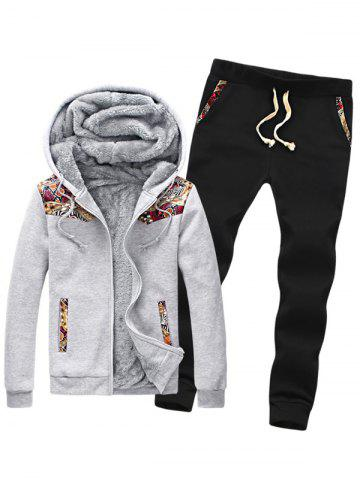 Shop Insert Plus Size Zip Up Flocking Hoodie and Pants Twinset