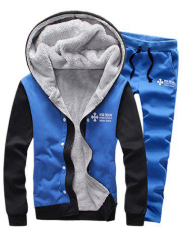 Cheap Color Block Plus Size Zip Up Flocking Hoodie and Pants Twinset SKY BLUE 5XL